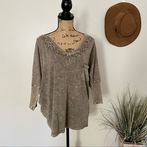Romeo & Juliet Couture Olive Studded Dolman Sleeve Top